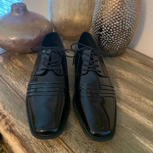 "Stacy Adams Black ""Raynor"" Cap Toe Lace Up Shoes"